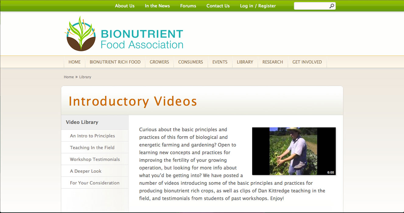Bionutrient Food Association - Introductory Videos