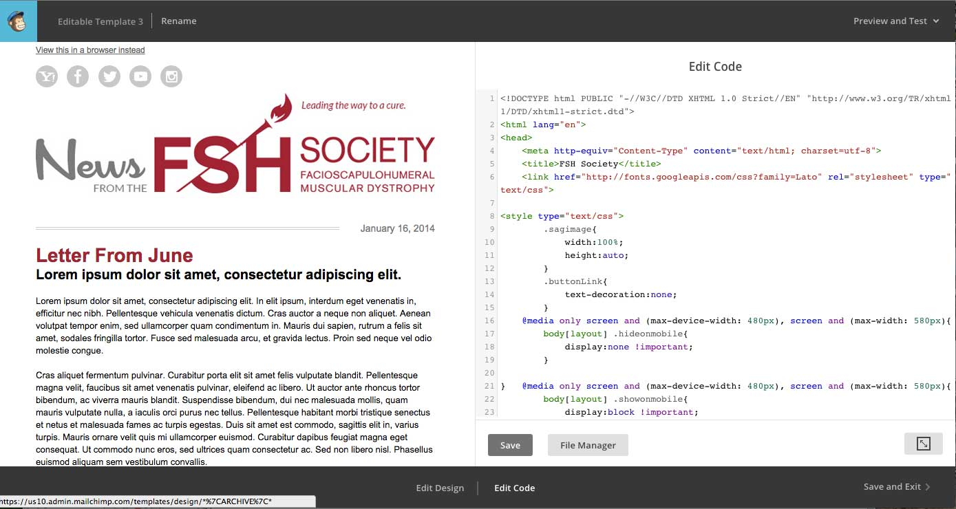 FSH Society - Email Template