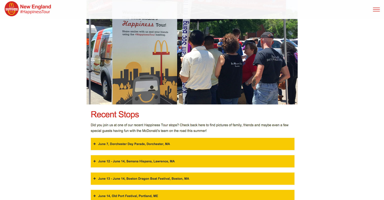 McDonalds's Happiness Tour - Recent Stops